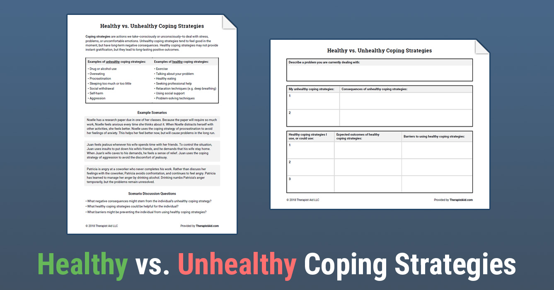 Healthy vs  Unhealthy Coping Strategies (Worksheet) | Therapist Aid