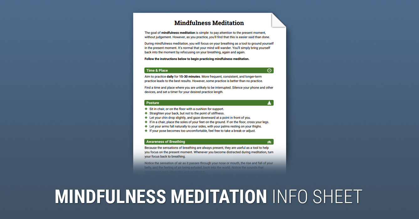 How to Practice Mindfulness Meditation (Worksheet) | Therapist Aid