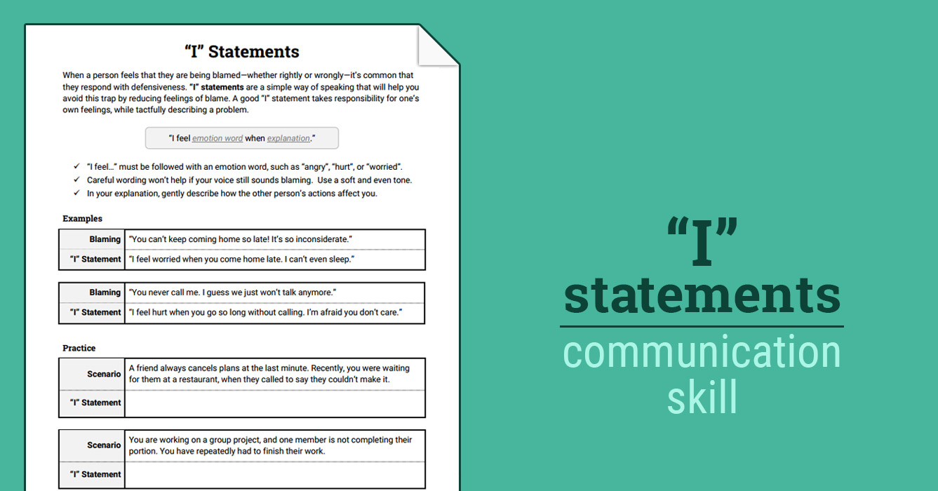 I Statements Worksheet Therapist Aid
