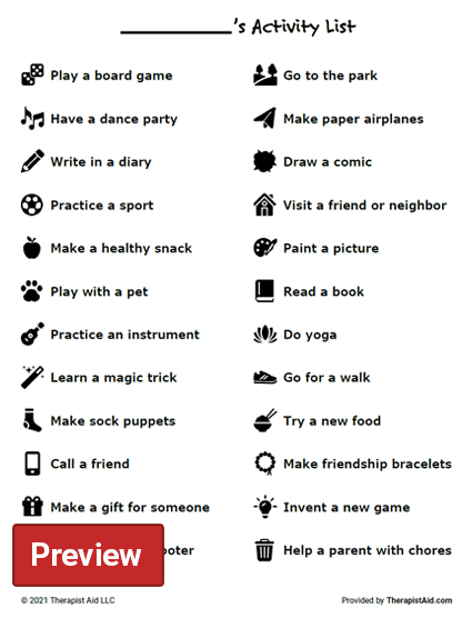 Activity List for Kids Preview