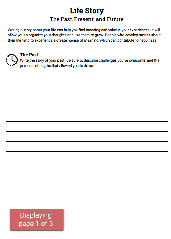 Life Story Worksheet – Substance Abuse Group Therapy Worksheets