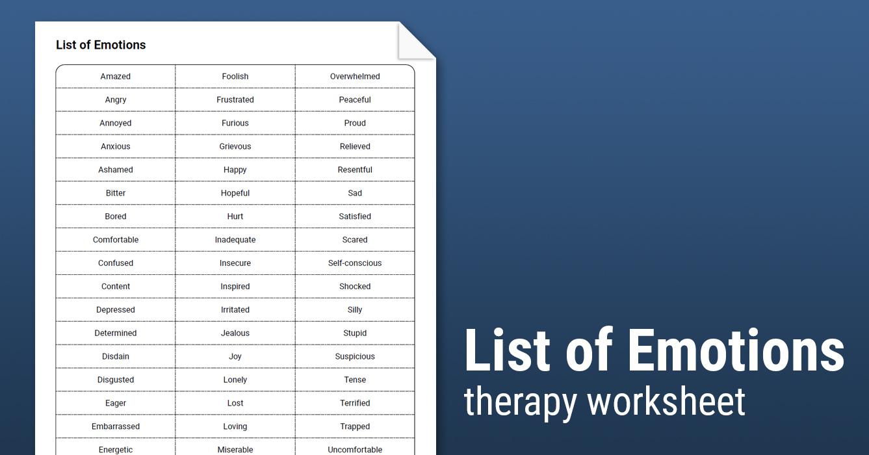 List Of Emotions Worksheet Therapist Aid