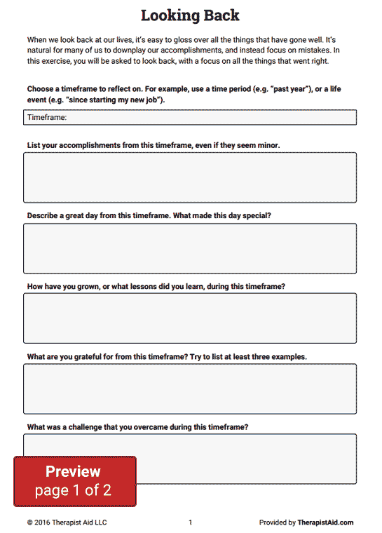 Looking Back, Looking Forward (Worksheet) | Therapist Aid