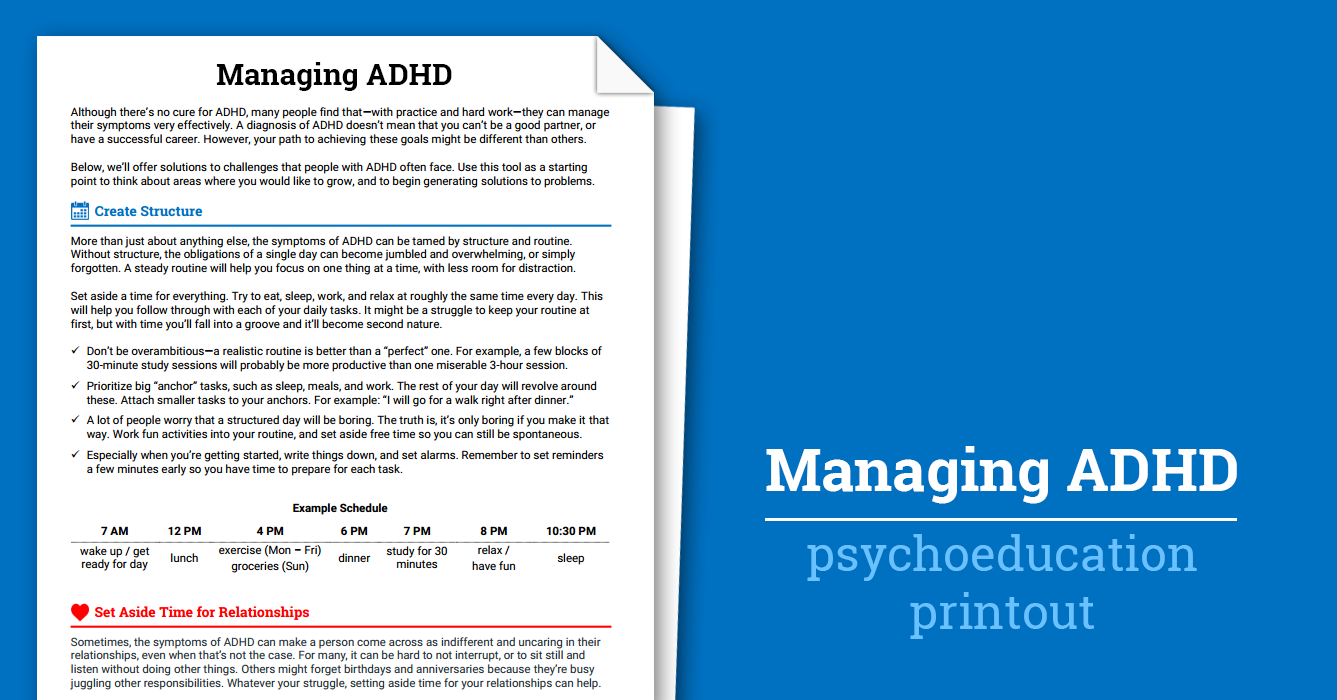 Managing Adhd Worksheet Therapist Aid