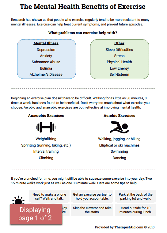 Mental Health Benefits of Exercise Worksheet – Substance Abuse Group Therapy Worksheets