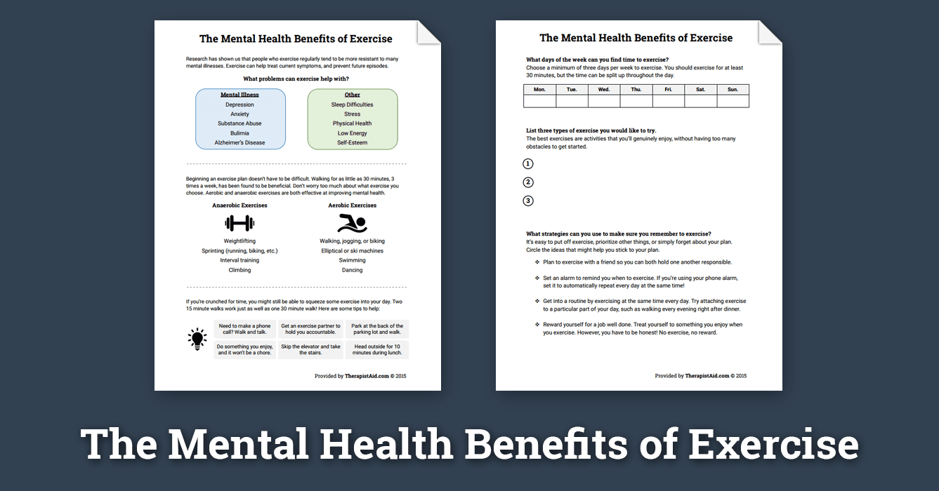 Mental Health Benefits Of Exercise Worksheet Therapist Aid