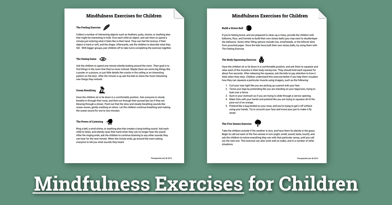 Mindfulness Activities for Children (Worksheet) | Therapist Aid