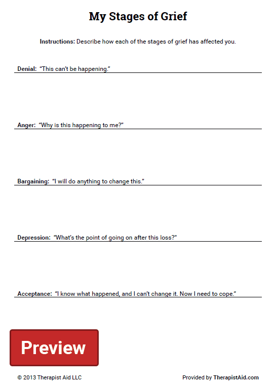 Printables Grief Worksheets my stages of grief worksheet therapist aid preview