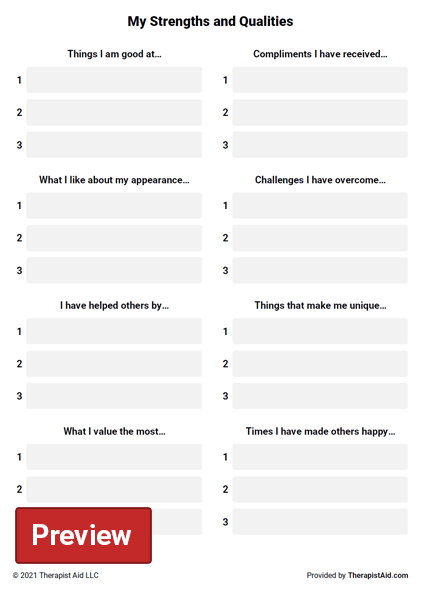 My Strengths and Qualities Worksheet – Building Self Esteem Worksheets