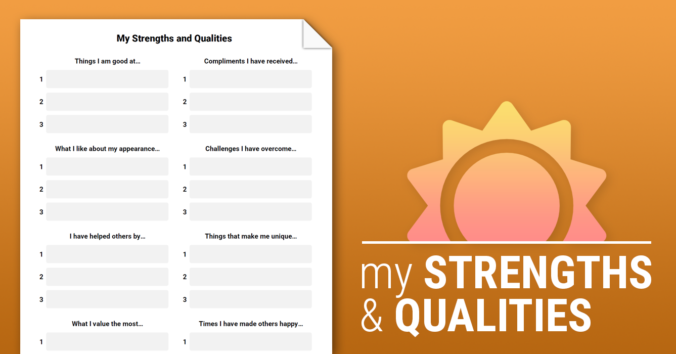 my strengths and qualities worksheet therapist aid