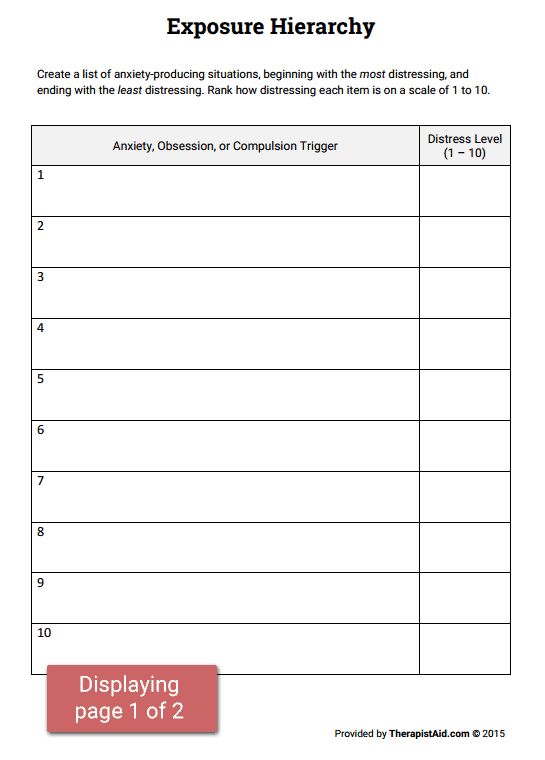 OCD Exposure Hierarchy Packet Worksheet – Cognitive Distortion Worksheet