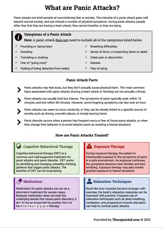 Panic Attack Info Sheet (Worksheet) : Therapist Aid