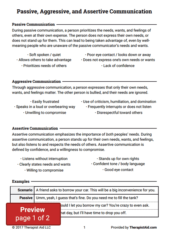 Worksheets Assertiveness Training Worksheets passive aggressive and assertive communication worksheet preview
