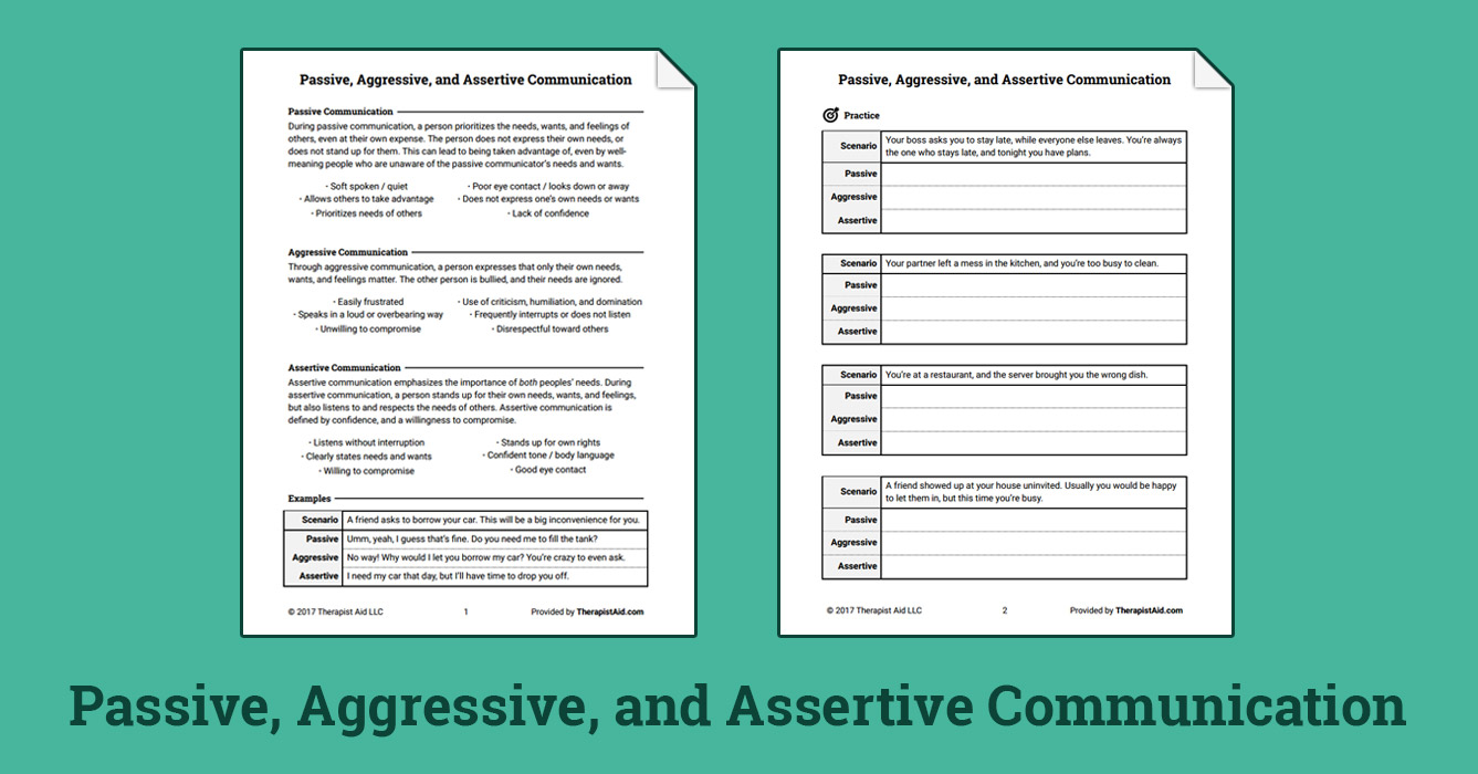 Worksheets Assertive Communication Worksheet passive aggressive and assertive communication worksheet therapist aid