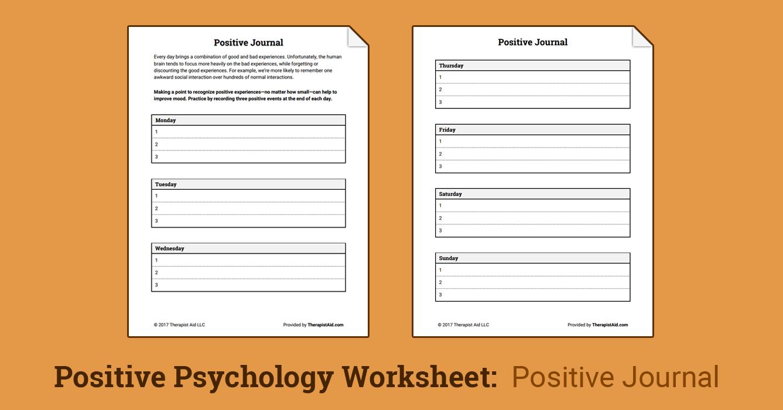 worksheet Positivity Worksheets positive journal worksheet therapist aid