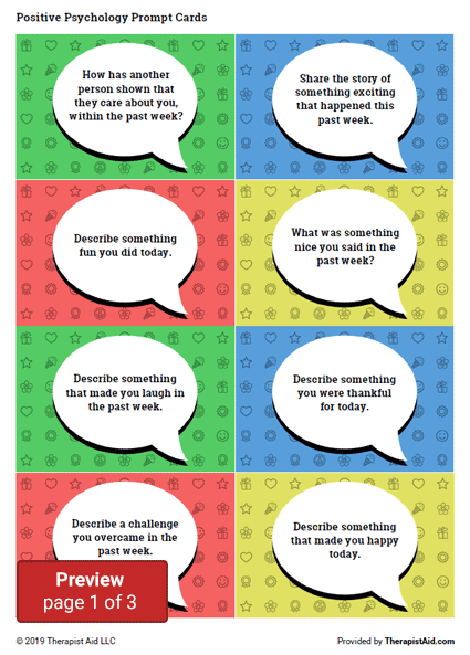 Positive Psychology Prompt Cards Preview