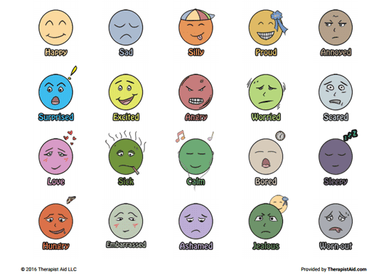 photo about Free Printable Emotion Faces titled Printable Experience Faces (Worksheet) Therapist Support