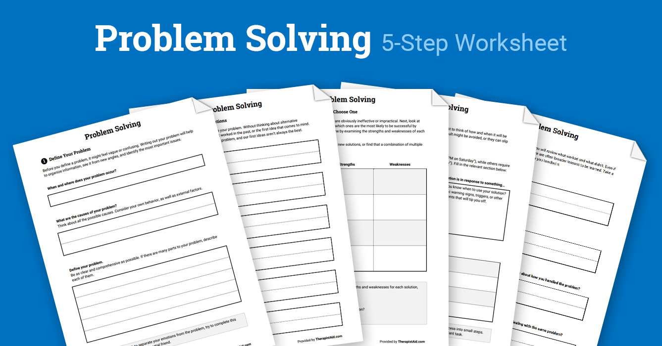 Problem Solving Packet Worksheet Therapist Aid
