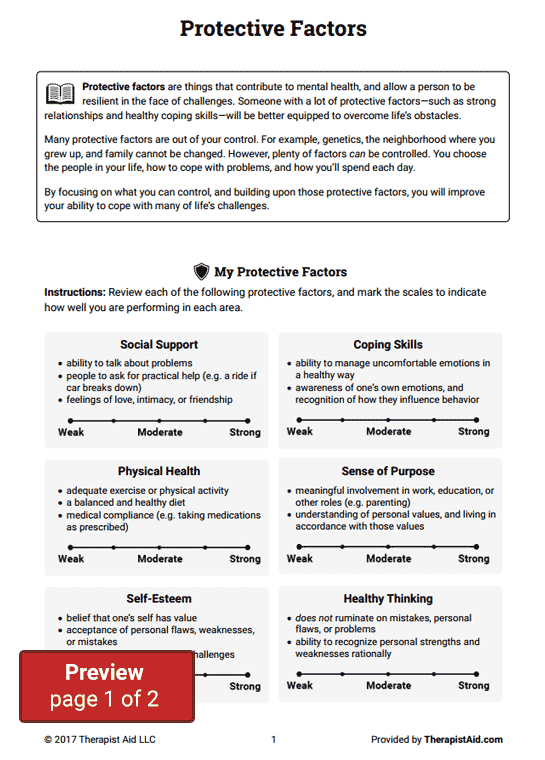 Protective Factors (Worksheet) : Therapist Aid