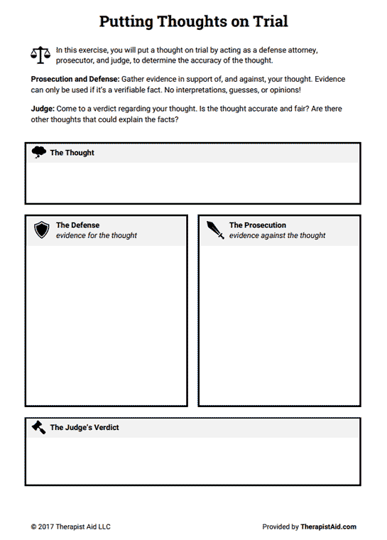 Cognitive Restructuring Thoughts on Trial Worksheet – Cognitive Worksheets