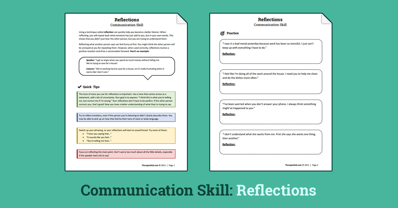 Reflections Communication Skill Worksheet – Reflections Worksheet