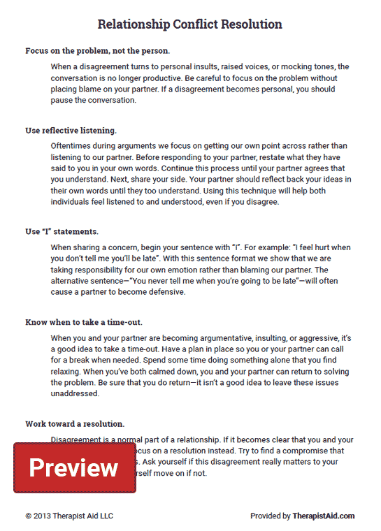 Relationship Conflict Resolution Worksheet – Conflict Resolution Worksheet