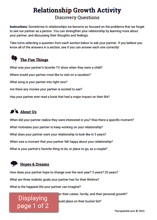 Relationship Growth Activity Worksheet – Relationship Worksheets