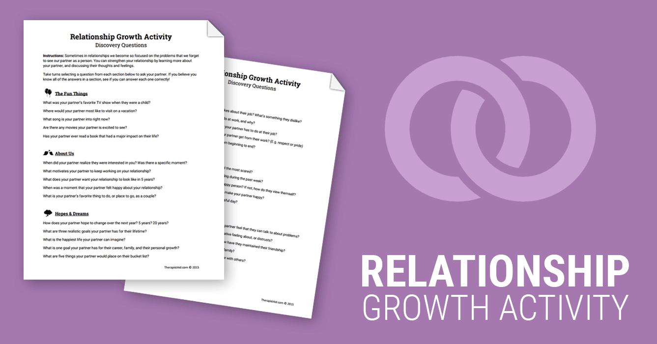 Relationship Growth Activity (Worksheet) | Therapist Aid