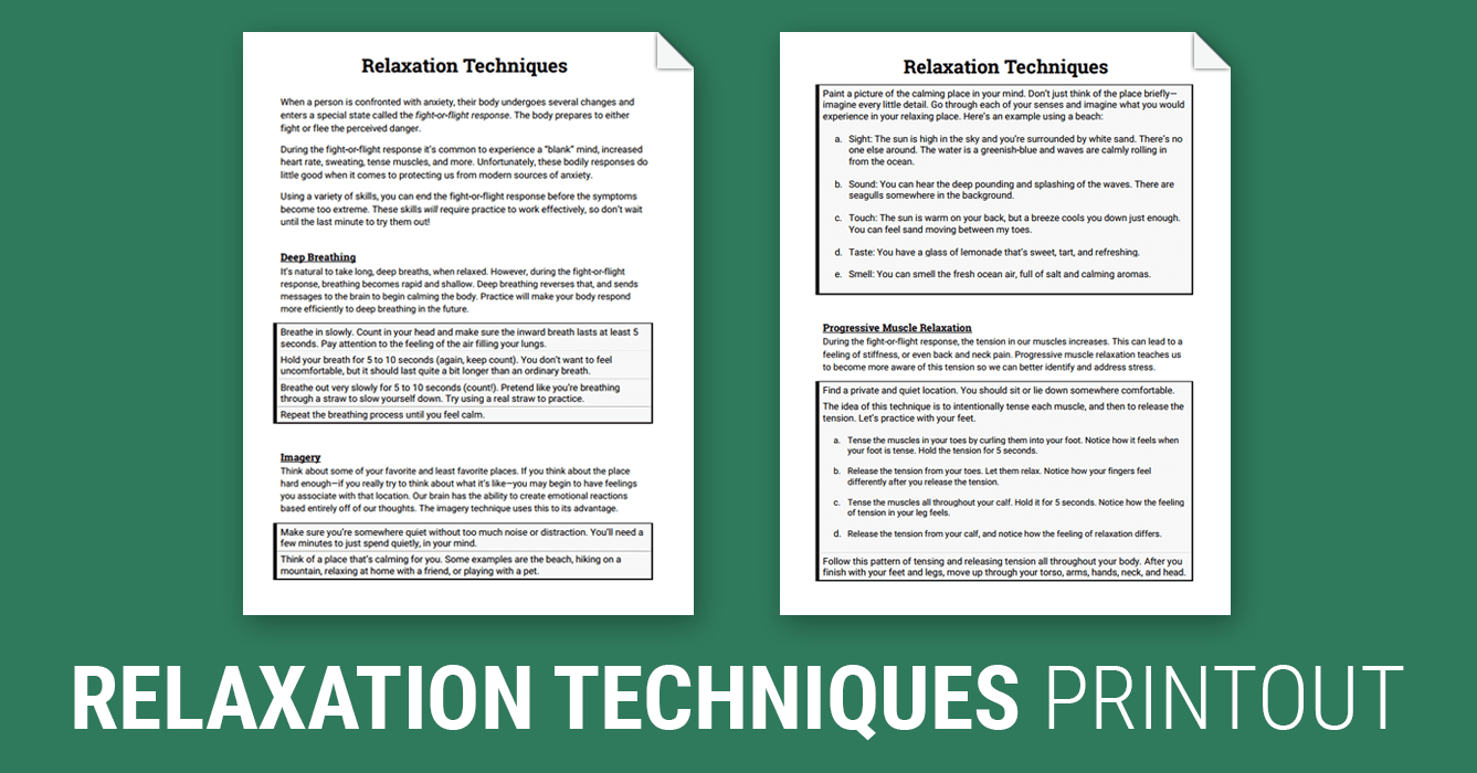 Relaxation Techniques Worksheet – Social Anxiety Worksheets