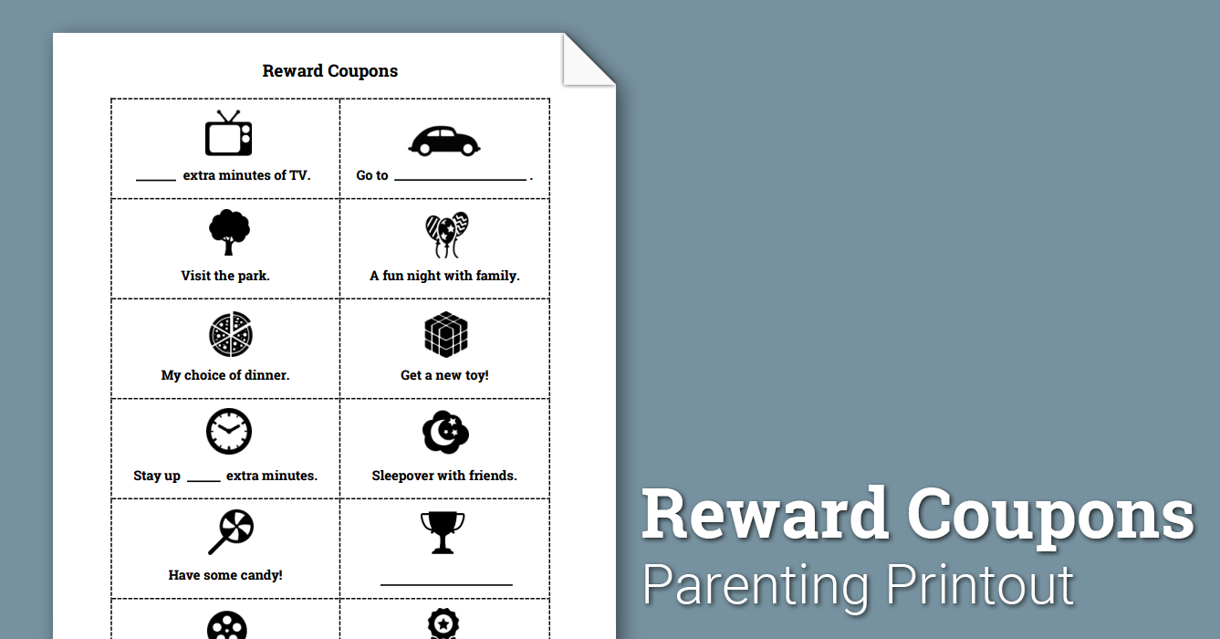 Reward Coupons (Worksheet) | Therapist Aid