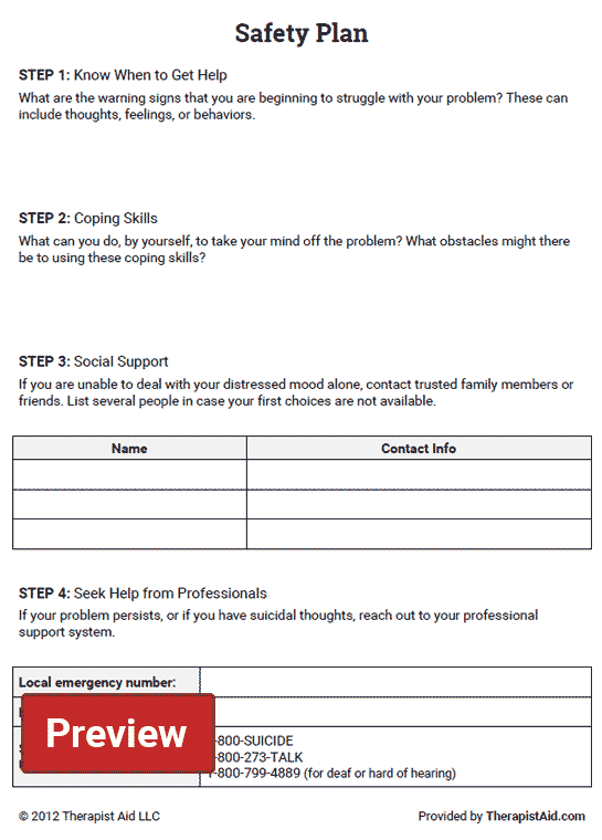 Safety plan worksheet therapist aid for Safety plan template for suicidal clients