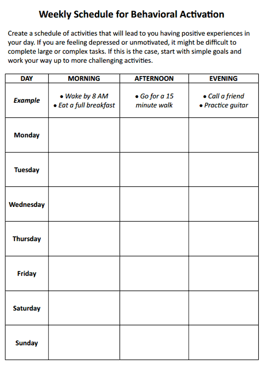Printables Behavior Worksheets weekly schedule for behavioral activation worksheet therapist aid preview