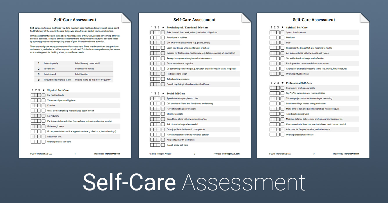 Self-Care Assessment (Worksheet) | Therapist Aid
