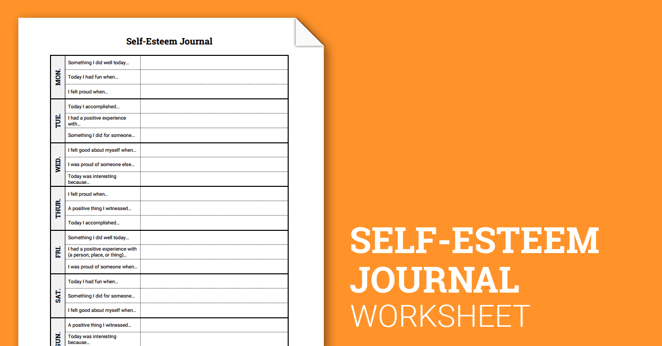 Worksheets Low Self Esteem Worksheets self esteem journal worksheet therapist aid
