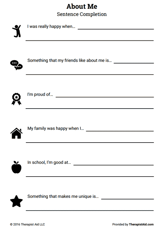 About Me: Self-Esteem Sentence Completion (Worksheet) | Therapist Aid