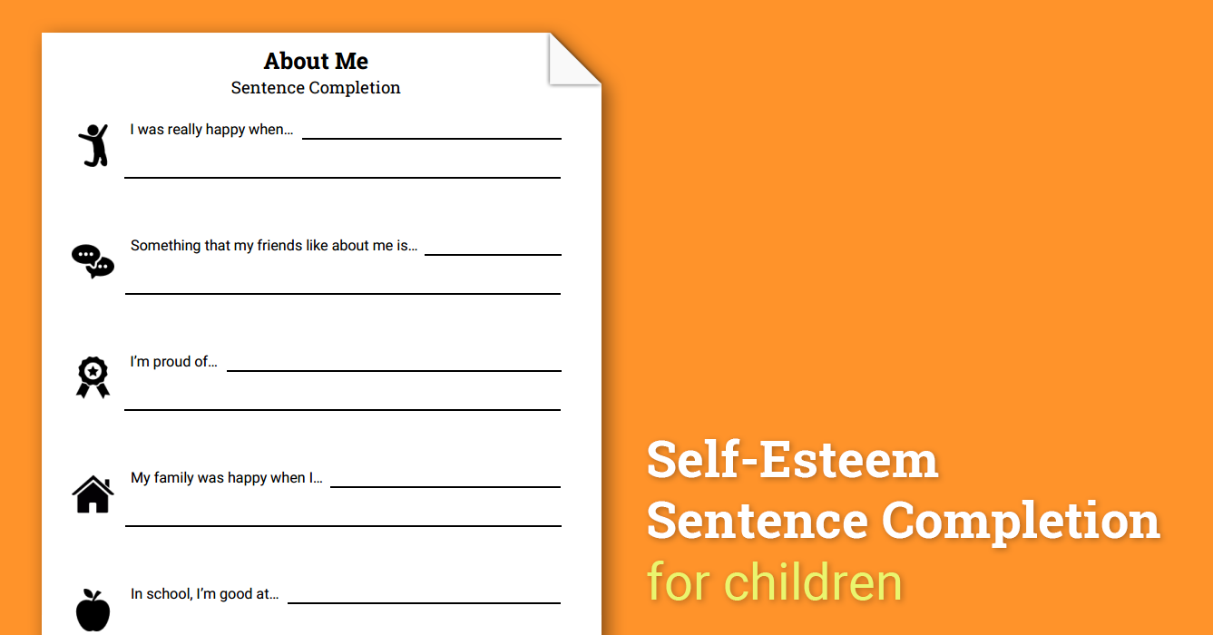 About Me SelfEsteem Sentence Completion Worksheet – Sentence Completion Worksheets
