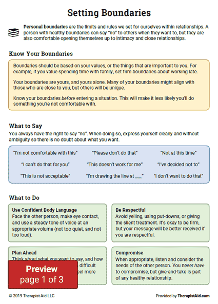 Setting Boundaries Info And Practice Worksheet