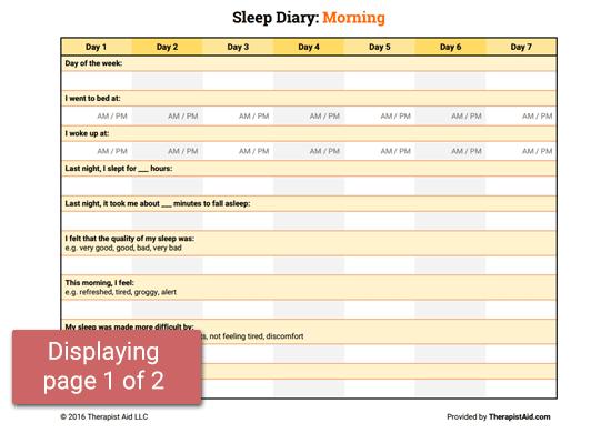 Sleep Diary Worksheet – Sleep Hygiene Worksheet