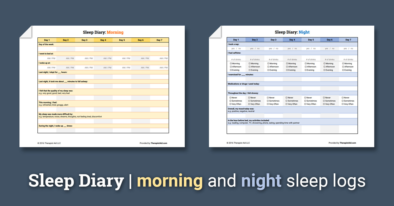 Sleep Diary Worksheet Therapist Aid
