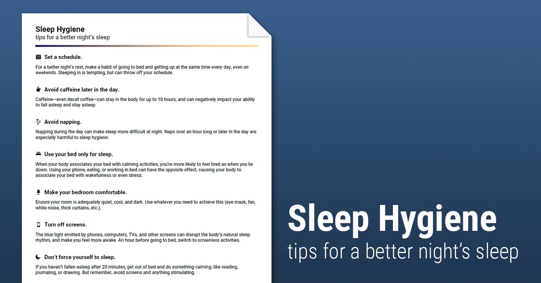 Worksheets Sleep Hygiene Worksheet sleep hygiene handout worksheet therapist aid