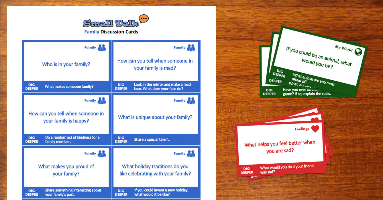Small Talk Discussion Cards For Kids Worksheet