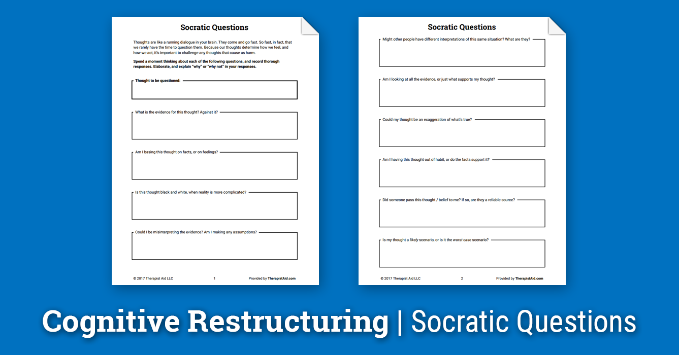 Cognitive Restructuring: Socratic Questions (Worksheet ...