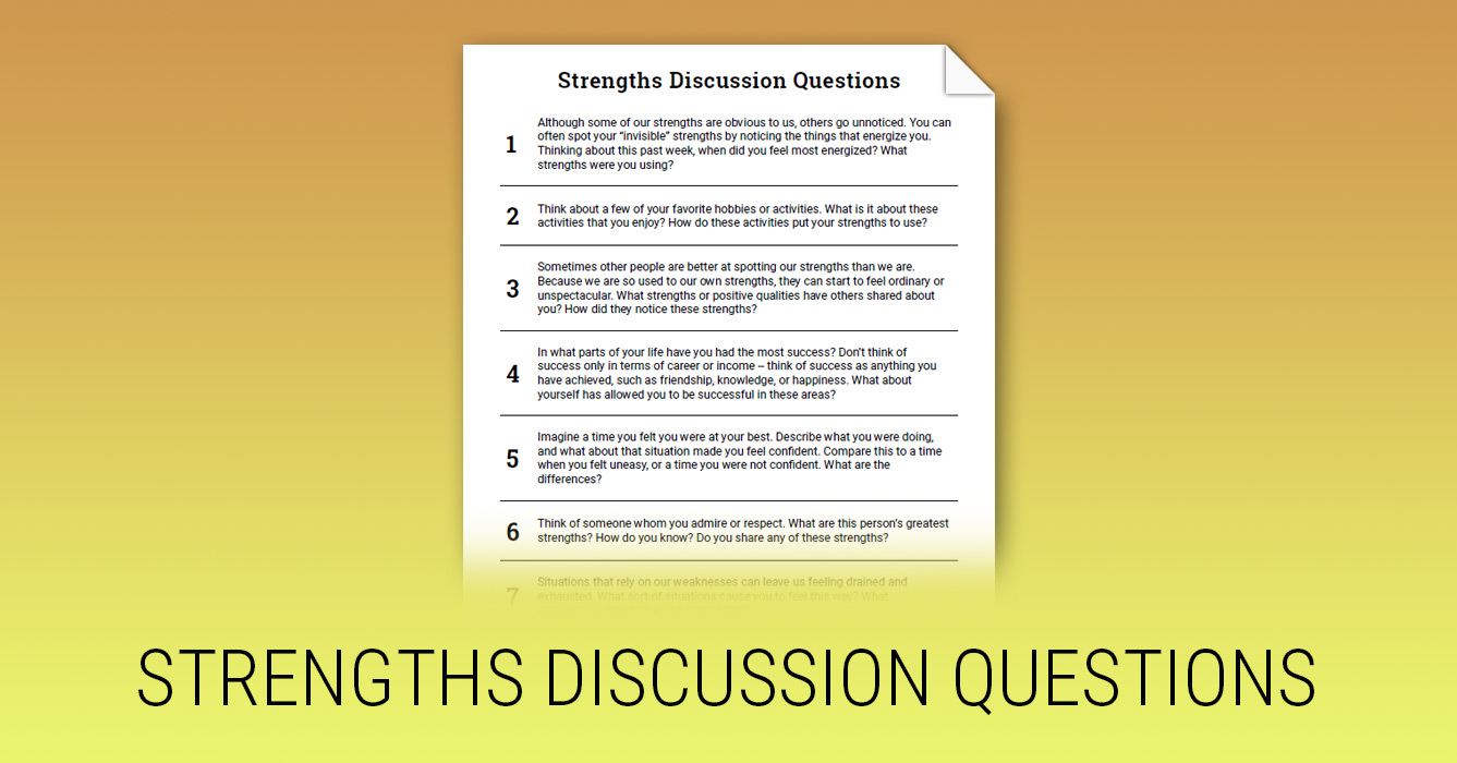 Strengths Discussion Questions Worksheet Therapist Aid