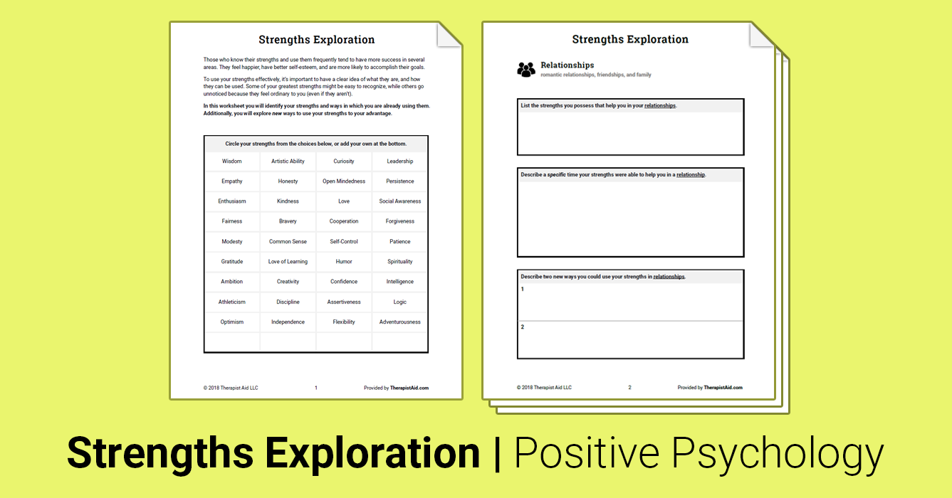 Strengths Exploration (Worksheet) | Therapist Aid