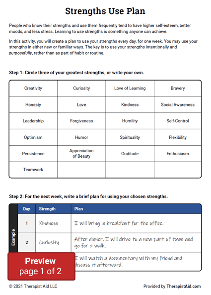 Strengths Use Plan Preview