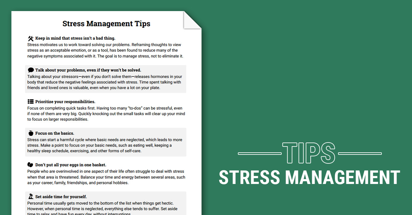 easy stress management techniques Stress management is a wide spectrum of techniques and psychotherapies aimed at controlling a person's level of stress, especially chronic stress, usually for the purpose of improving everyday functioning in this context, the term 'stress' refers only to a stress with significant negative consequences, or distress in the.