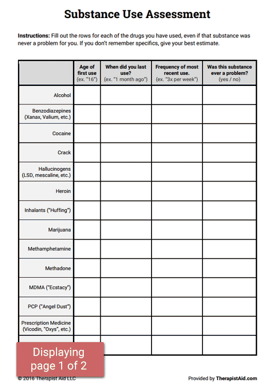 Substance Abuse Group Worksheets - Worksheet