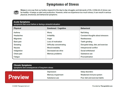 Symptoms of Stress (Worksheet) | Therapist Aid