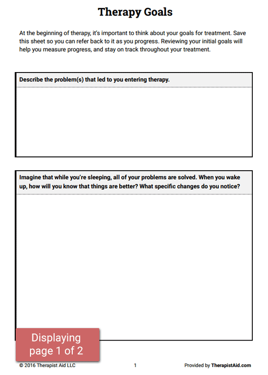 Therapy Goals Worksheet – Goals Worksheet