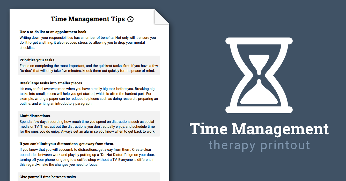 Time management tips worksheet therapist aid ibookread PDF